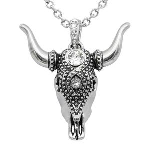 Jewelry - Taurus Bull Skull Necklace Stainless Steel Crystal
